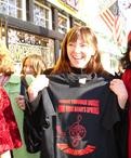 Dr. Karen Gardias, Davis High Choir director, with the t-shirt designed by Rozalina Gutman, supporting the cause for music education for all in the State of CA