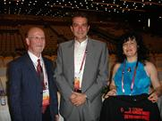 Ms. R. Gutman showing Advocacy Message to ISME President-Elect Graham Welch & Chair of 30th ISME Conference Dr. Polyvios Androutous, at the Closing Ceremony of 29th World Conference of ISME, Beijing, 2010