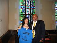 Rozalina Gutman with Donald Guest, Pastor of Glide Memorial Church, showing support for the message of Advocacy for Music Education from C.H.A.R.I.S.M.A. Foundation