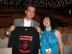 Rozalina Gutman (C.H.A.R.I.S.M.A. Foundation) with Dr. Polyvious Androutsos, Chair of 30th World Conference of ISME, Greece'12, showing support for the message of Advocacy for Music Education through Brain/Music Research